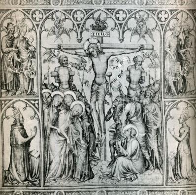 Crucifixion with Charles V and Jeanne de Bourbon, Parement de Narbonne, c. 1375, Paris, Louvre