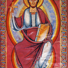 Christ in Majesty, Stavelot Bible, 1093-97, London, British Library Add MS 28106-28107
