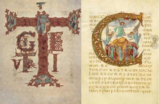 Te Igitur, Drogo Sacramentary, c. 830, Paris, Bibliothèque Nationale Ms. Lat. 9428.