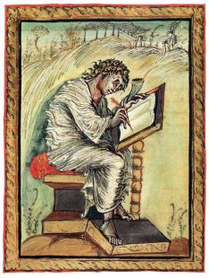 St Mark, Ebbo Gospels, c. 830, Épernay, Bibliothèque Municipale