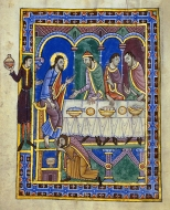 Feast in the House of Simon Levi, St Albans Psalter, c 1130, Hildesheim, Dombibliothek Ms Godehard 1.