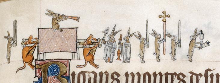 Bunny Funeral, Gorleston Psalter, c. 1320, London, British Library Ms. Add. 49622.