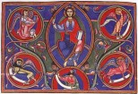 Master Hugo, Christ in Majesty, Bury Bible, c. 1135, Cambridge, Corpus Christi College MS 2.
