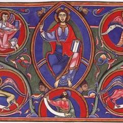 Master Hugo, Christ in Majesty, Bury Bible, c. 1135, Cambridge, Corpus Christi College MS 2.