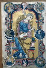 St Johin the Evangelist with Abbot Wedrixus, 1147, Avesnes-sur-Help, Socièté Achéologique et Historique.