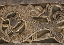 Oseberg Ship, Inhabited Interlace (set.), 10th c. Oseberg, Viking Ship Museum.