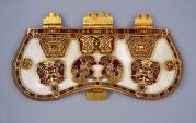 Purse lid, gold and cloissoné enamel