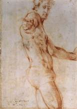 Jacopo Pontormo, Seated Nude with Raised Arm, c 1525, Florence, Gabinetto Disegni e Stampe degli Uffizi.