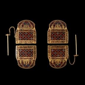 Shoulder Clasps, gold and cloissoné enamel