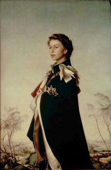 Pietro Annigoni, Queen Elizabeth II Wearing the robes of the Order of the Garter (painted for the Fishmongers' Company) 1955