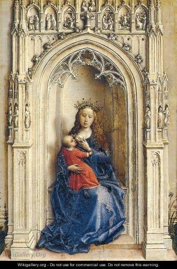 Rogier van der Weyden, Virgin and Child in a NIche, c 1430–1432. Madrid, Museo Thyssen-Bornemisza.