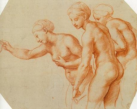 Raphael, Three Graces - Study for Wedding of Cupid and Psyche, 1516/17, Windsor, Royal Collection.
