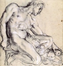 Annibale Carracci, A Seated Ignudo with a Garland, 1598/99. Black chalk heightened with white chalk on gray paper, Paris, Louvre.