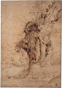 Annibale Carracci, Eroded Riverbank with Trees and Exposed Roots, ca. 1590–92