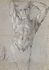 Annibale Carracci, Preparatory study of Atlante figure, 1598/99, Washington DC, National Gallery of Art.
