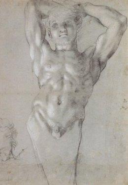 Annibale Carracci, Preparatory study of Atlante figure, 1598/99, Washington DC, National Gallery of Art.