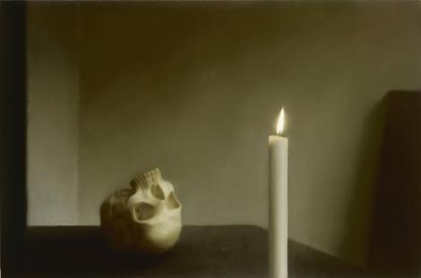 Gerhard Richter, Schädel mit Kerze, 1983, Nürnberg, Neues Museum, Staatliches Museum für Kunst und Design.