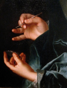 %22Portrait of Jacques Roettier II%22 (detail), 1730, Nicolas de Largilliere.