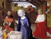 Maître des Moulins, Nativit with Cardinal Rolin, c. 1480, Autun, Musée Rolin.