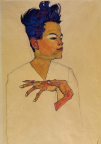 Egon Schiele, Self Portrait with Hand on Chest, 1917.